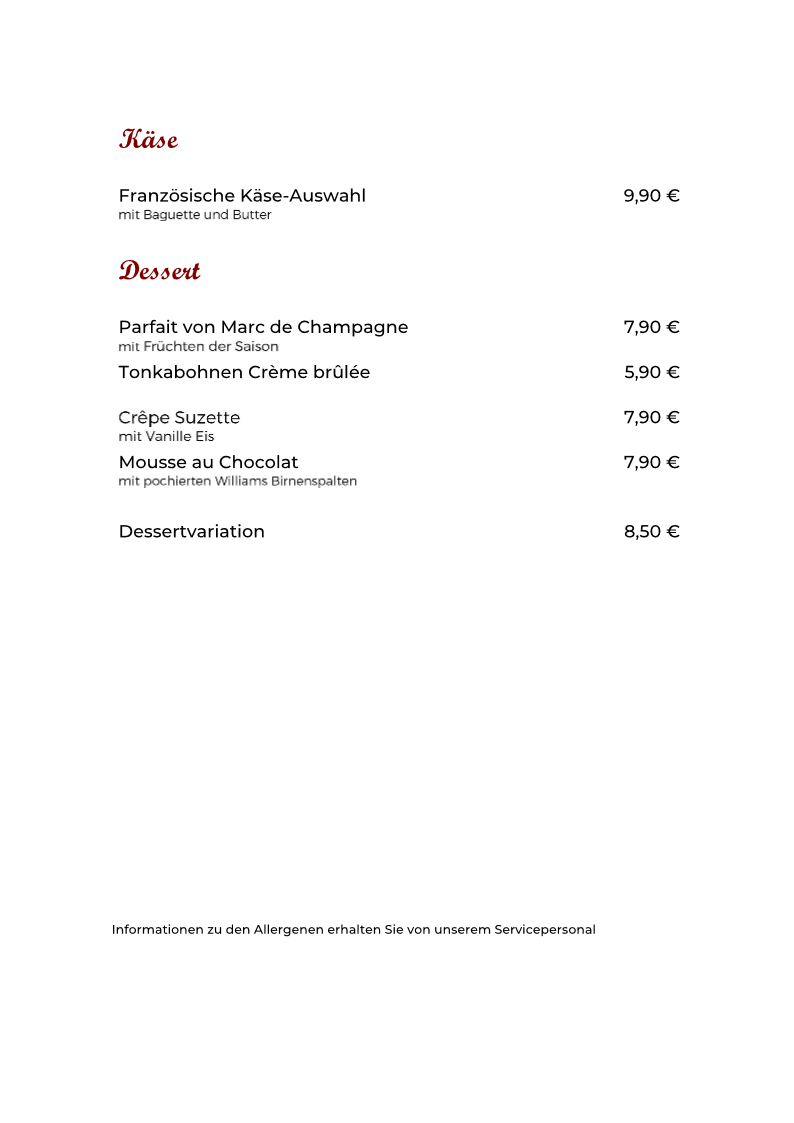Speisekarte Dessert neu 10.09.2020