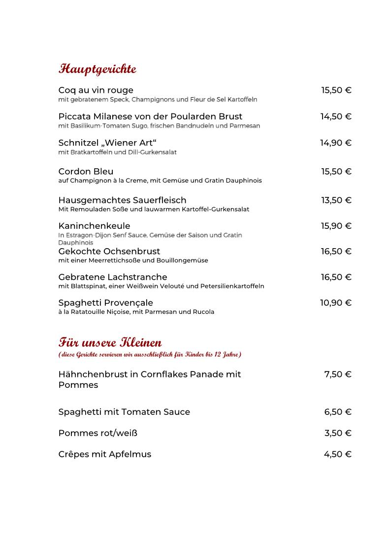 Speisekarte Hauptgänge neu 10.09.2020