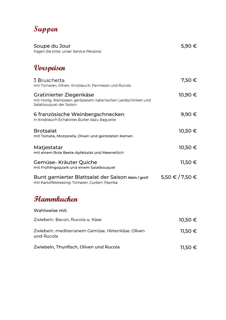 Speisekarte Vorspeisen neu 10.09.2020