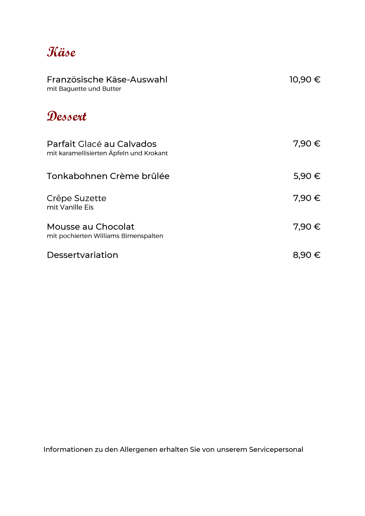 Speisekarte Dessert neu 15.09.2021