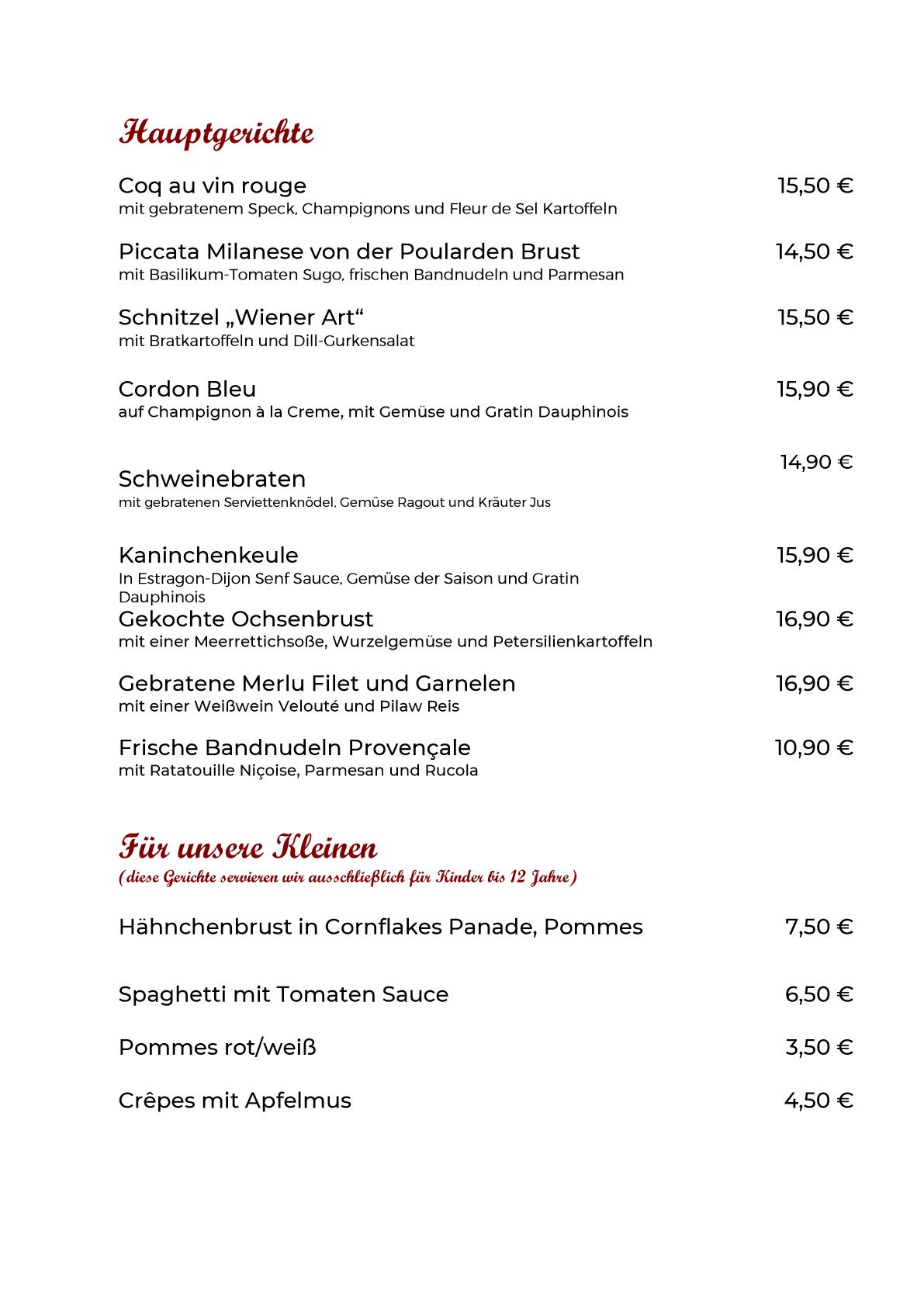 Speisekarte Hauptgänge neu 10.09.2021