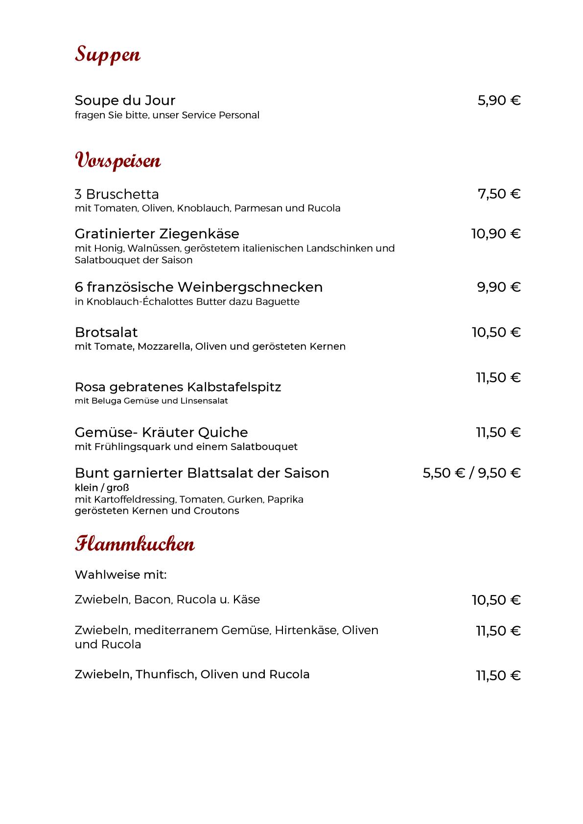 Speisekarte Vorspeisen neu 10.09.2021